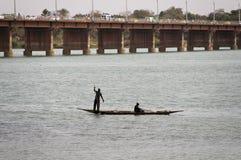 De vissers van Bozo in Bamako, Mali stock foto