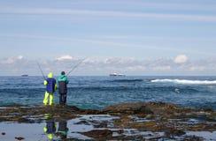 De vissers van de rots Stock Fotografie