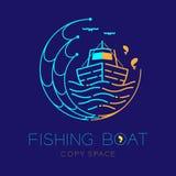 De vissersboot, vissen, zeemeeuw, golf en Visnet het het embleempictogram van de cirkelvorm schetsen illustratie van het de lijno stock illustratie