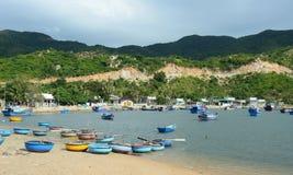 De vissersboten in Phan belden, Vietnam Royalty-vrije Stock Afbeelding
