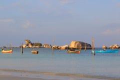 De Vissersboten van Belitung Stock Afbeelding