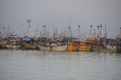De vissersboten van Lankan van Sri Stock Afbeeldingen