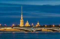De vita nätterna i St Petersburg, Ryssland Arkivbild