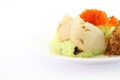De vla van het ei op groene kleverige rijst Royalty-vrije Stock Foto