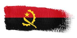 De Vlag Angola van de penseelstreek Stock Fotografie