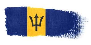 De Vlag Barbados van de penseelstreek Stock Foto