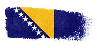 De Vlag Bosnië-Herzegovina van de penseelstreek Stock Afbeeldingen