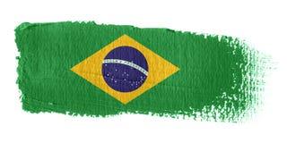 De Vlag Brazilië van de penseelstreek Stock Afbeeldingen