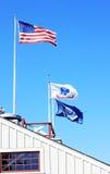 De Vlag, de Marine en het Leger van de V.S. Stock Afbeeldingen