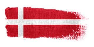 De Vlag Denemarken van de penseelstreek Stock Fotografie