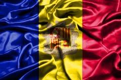De vlag die van Andorra in de wind golven royalty-vrije illustratie