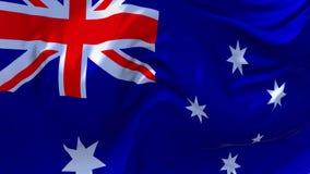 07 De Vlag die van Australië op Achtergrond van de Wind de Ononderbroken Naadloze Lijn golven stock videobeelden