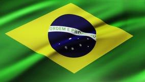 De Vlag die van Brazili? in Animatie van de Wind de Langzame Motie golven 4K het realistische de Vlag van de Stoffentextuur Vlott vector illustratie