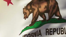 De vlag die van Californië in de wind golven Van een lus voorziende zon stock footage