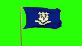 De vlag die van Connecticut in de wind golven Het groene scherm stock video