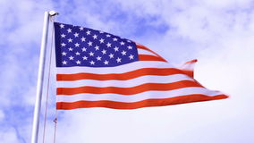 De vlag die van de V.S. in de wind golven
