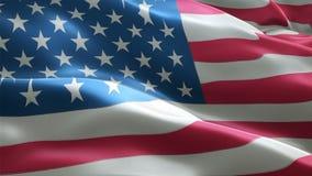 De vlag die van de V.S. in wind achtergrondanimatie het naadloze van een lus voorzien golven stock videobeelden