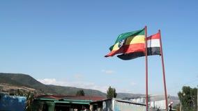 De vlag die van Ethiopië op een wind golven stock footage