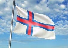 De vlag die van de Faeröer met hemel op realistische 3d illustratie als achtergrond golven stock illustratie