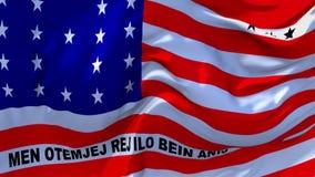 09 De Vlag die van het bikiniatol op Achtergrond van de Wind de Ononderbroken Naadloze Lijn golven stock video