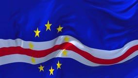 De Vlag die van Kaapverdië op Achtergrond van de Wind de Ononderbroken Naadloze Lijn golven stock footage