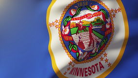 De vlag die van Minnesota in de wind golven Van een lus voorziende zon stock footage