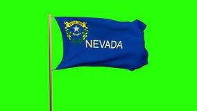 De vlag die van Nevada met titel in de wind golven looping stock video