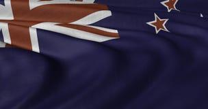 De vlag die van Nieuw Zeeland in lichte wind fladderen stock afbeeldingen