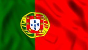De vlag die van Portugal in het windsymbool golven van het land van Portugal royalty-vrije illustratie