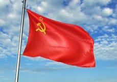 De vlag die van Sovjetunie met hemel op realistische 3d illustratie als achtergrond golven vector illustratie