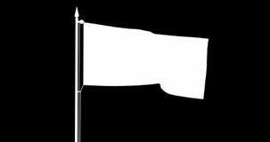 De vlag die van de staat van Canada zich in de wind bij de vlaggestok voor een bewolkte hemel bewegen stock footage