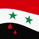 De Vlag die van Syrië met bloed rode scheuren golft stock fotografie