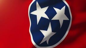 De vlag die van Tennessee in de wind golven Van een lus voorziende zon stock footage