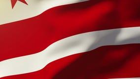De vlag die van Washington gelijkstroom in de wind golven Van een lus voorziende zon stock footage