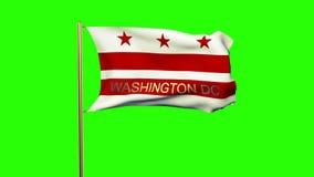 De vlag die van Washington gelijkstroom met titel in de wind golft stock videobeelden
