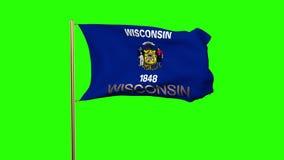 De vlag die van Wisconsin met titel in de wind golven stock footage