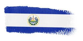 De Vlag El Salvador van de penseelstreek Stock Afbeeldingen