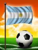 De vlag en de bal van Argentinië Royalty-vrije Stock Foto's