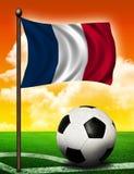 De vlag en de bal van Frankrijk royalty-vrije stock afbeeldingen