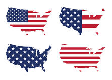 De Vlag en de Kaart van Verenigde Staten Stock Fotografie