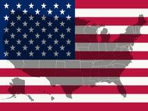 De vlag en de kaart van Verenigde Staten Stock Afbeelding