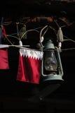De vlag en de lamp van Qatar stock foto