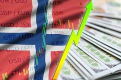 De vlag en de grafiek groeiende Amerikaanse dollarpositie van Noorwegen met een ventilator van dollarrekeningen royalty-vrije illustratie