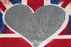 De vlag en het hart van het Verenigd Koninkrijk stock foto