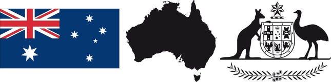 De Vlag en het symbool van Australië Stock Fotografie