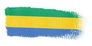 De Vlag Gabon van de penseelstreek Stock Foto