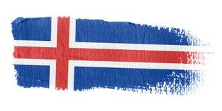 De Vlag IJsland van de penseelstreek Stock Afbeelding