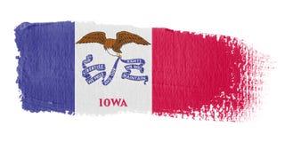 De Vlag Iowa van de penseelstreek stock illustratie