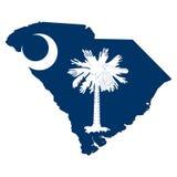 De vlag Kaart van de Zuid- van Carolina Royalty-vrije Stock Foto's