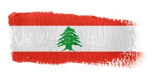 De Vlag Libanon van de penseelstreek Stock Afbeelding